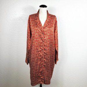 Natori Button-Front Satin Nightshirt Dress